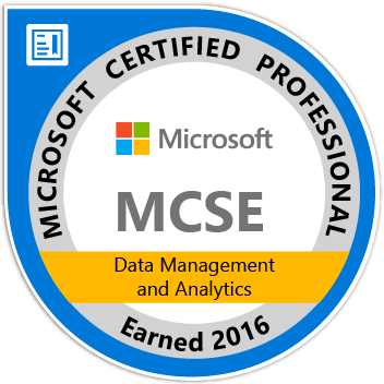 MCSE: Data Management and Analytics — Certified 2016