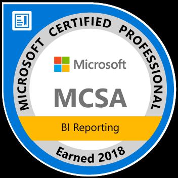 MCSA: BI reporting - Certified 2018