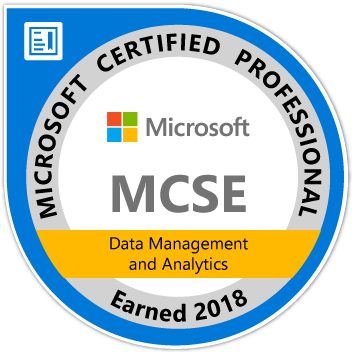 MCSE: Data Management and Analytics — Certified 2018